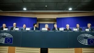 Members of the far-right group in the European Union parliament give a press conference in Brussels on June 13, 2019