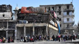 نازحون من الأحياء الشرقية لمدينة حلب