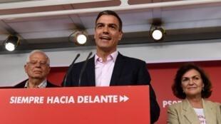 Pedro Sanchez s'adresse à ses partisans à Madrid le 26mai2019.