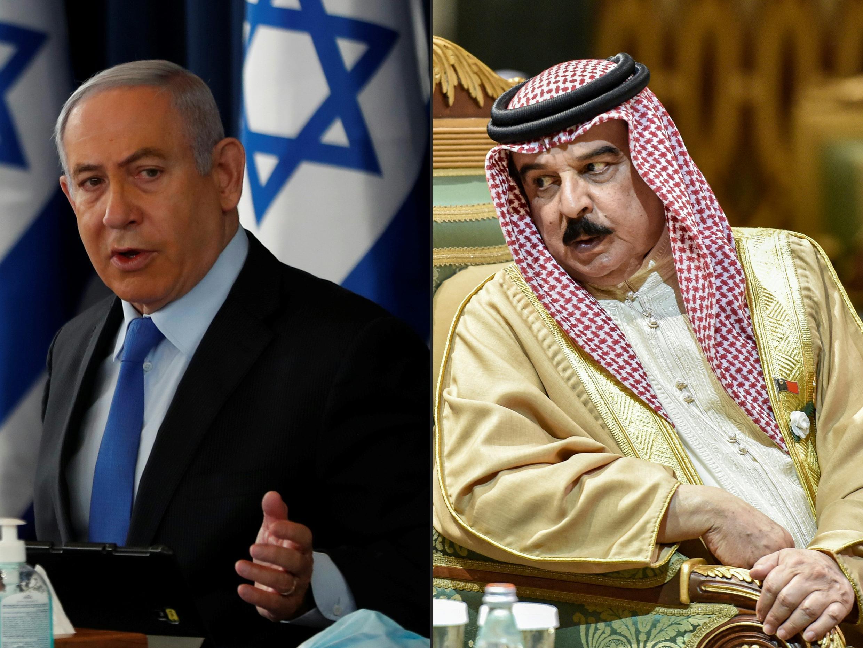 ملك البحرين حمد بن عيسى الخليفة ورئيس الوزراء الإسرائيلي نتانياهو