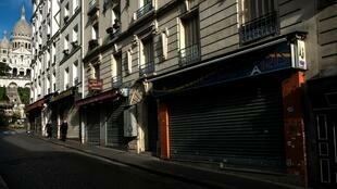 Closed shops are seen in the Montmartre district of Paris during the country's second coronavirus lockdown.