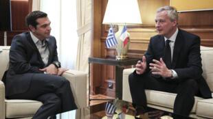 Bruno Le Maire a rencontré Alexis Tsipras, à Athènes, lundi 12 juin.