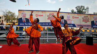 "Participants perform Dandiya, a traditional dance, during a rehearsal for the ""Namaste Trump"" event ahead of the visit of US President Donald Trump, in Ahmedabad, India, February 23, 2020."