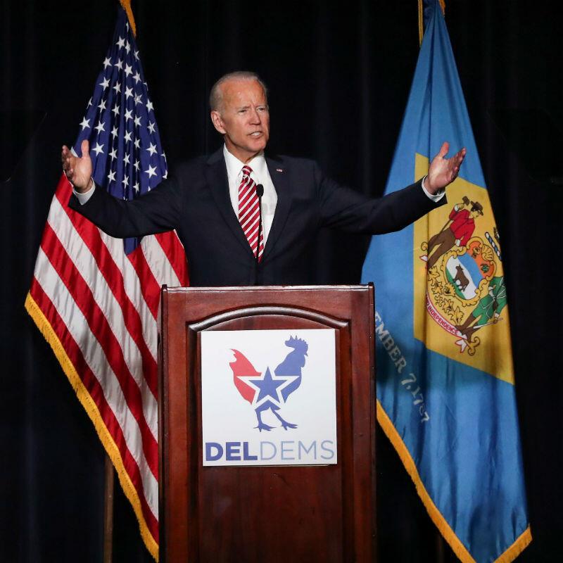 El ex vicepresidente estadounidense, Joe Biden, pronuncia un discurso en la Primera Cena Demócrata del Estado en Dover, Delaware, EE. UU., el 16 de marzo de 2019.