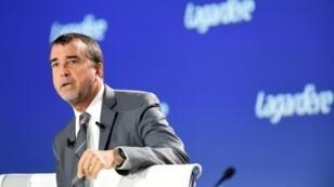 Arnaud Lagardère, président du groupe Lagardère et d'Europe 1, lors de l'assemblée générale du groupe Lagardère, le 10 mai à Paris