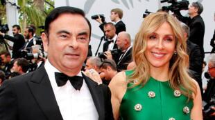 Carlos Ghosn et sa femme, Carole, lors d'une séance au Festival de Cannes, en mai 2017.