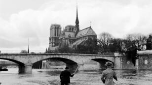 Parisinos disfrutan de la pesca en las orillas del río Sena, con la Catedral de Notre Dame de fondo el primer domingo de la primavera de 1947.