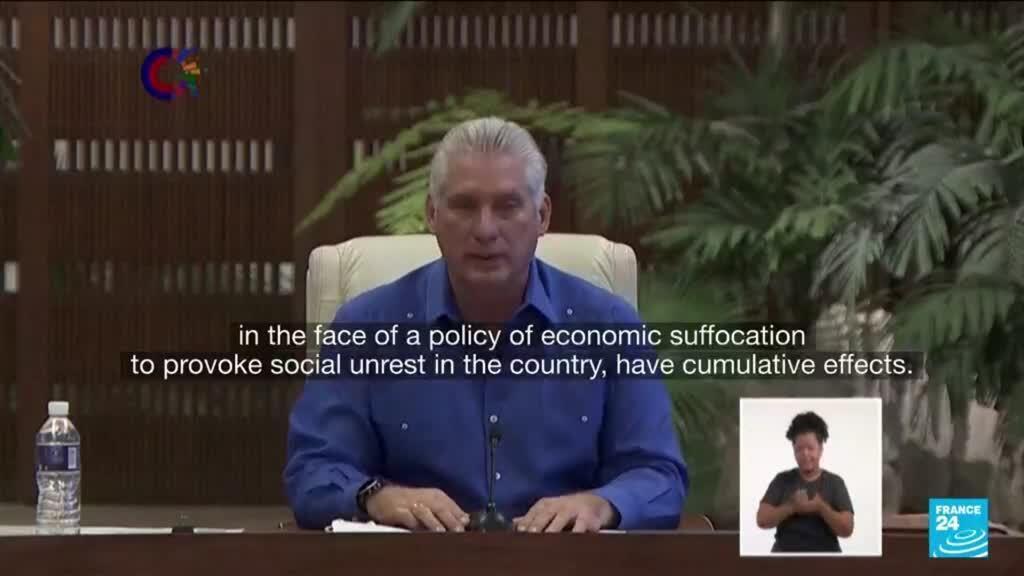 2021-07-12 18:01 Cuba blames unrest on US 'asphyxiation' as Biden backs protests