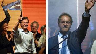 Mauricio Macri, le candidat d'opposition, et Daniel Scioli, le successeur désigné de Crsitina Kirchner, le soir du premier tour.