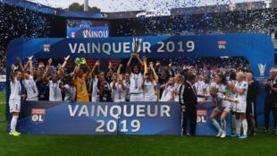 Les joueuses de Lyon après leur victoire dans le Trophée des championnes le 21 septembre 2019 au stade du Roudourou à Guingamp