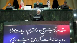 El presidente iraní, Hasan Rohaní, habla durante una sesión del parlamento en Teherán, Irán, el 3 de septiembre de 2019.