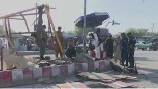 مكان وقوع انفجارين انتحاريين في كابول صباح الاثنين.