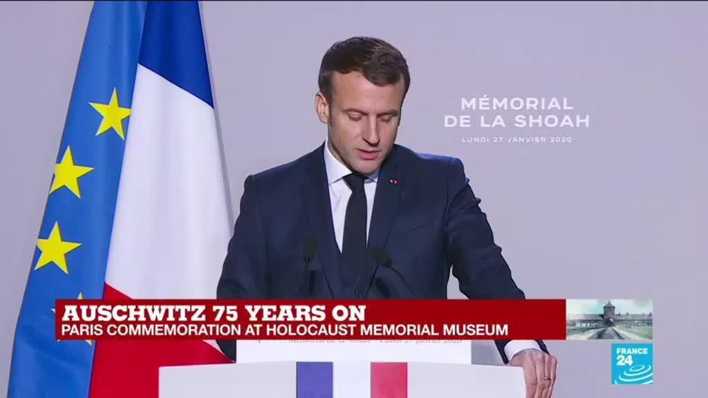 """2020-01-27 11:55 """"Those who were deprived of a name in exchange for a number retrieve here their identities,"""" Macron says"""
