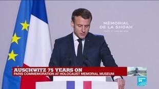 "2020-01-27 11:55 ""Those who were deprived of a name in exchange for a number retrieve here their identities,"" Macron says"