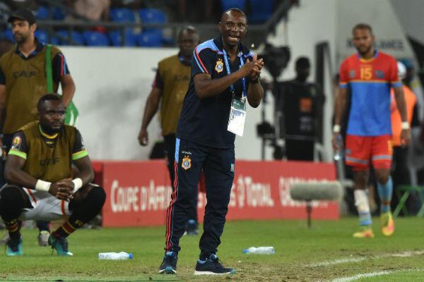 Le coach des Léopards, Florent Ibenge, lors du quart de finale de la CAN-2017 contre le Ghana.