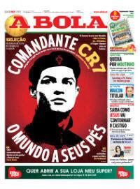 """""""Le monde est à ses pieds"""" : Ronaldo représenté en Che Guevara en couverture du journal portugais A Bola"""
