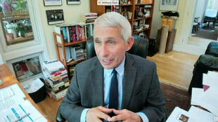 Anthony Fauci, director of the National Institute of Allergy and Infectious Diseases in a screen grab from a video feed as he testifies remotely from his home during a US Senate Committee for Health, Education, Labor, and Pensions hearing on the coronavirus disease response in Washington, DC, on May 12, 2020.