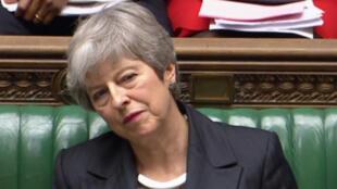 Theresa May devant les parlementaires britanniques, mercredi 20 mars, lors de la séance de questions au gouvernement.