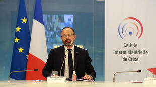 Le Premier ministre Edouard Philippe lors d'une visioconférence avec les préfets, le 29 avril 2020 à Paris