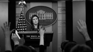La vocera de la Casa Blanca Sarah Sanders ofrece una rueda de prensa el 29 de octubre de 2018 en Washington D.C.