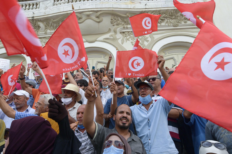 تظاهرة في العاصمة التونسية بتاريخ 18 أيلول/سبتمبر 2021 رفضا لقرارات الرئيس قيس سعيد التي اتخذها في نهاية تموز/يوليو