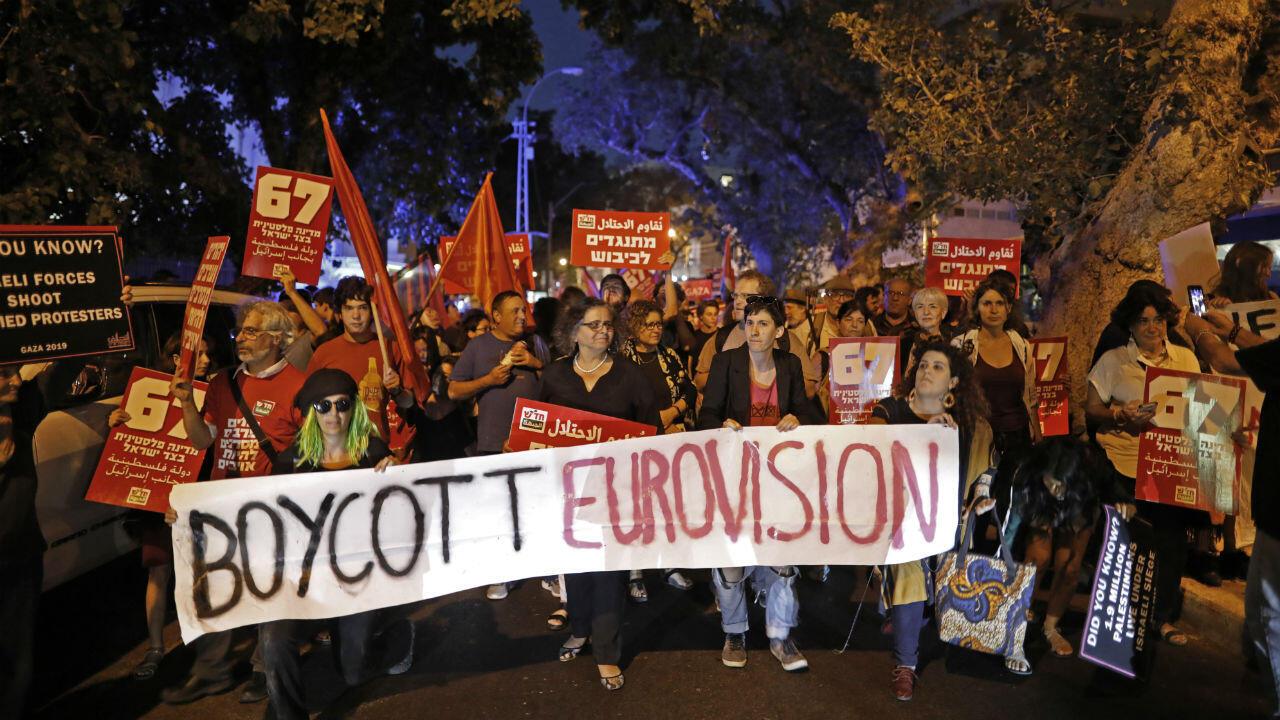Une manifestation contre la tenue de l'Eurovision en Israël, le 14 mai 2019 à Tel-Aviv.