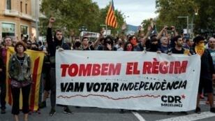 نشطاء مؤيدون للاستقلال يتظاهرون في برشلونة في ذكرى الاستفتاء في 1 تشرين الأول/أكتوبر 2018