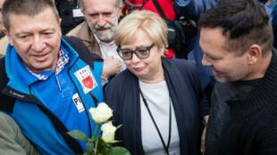 L'arrivée de la présidente de la Cour suprême polonaise Malgorzata Gersdorf à son bureau, mercredi 4 juillet 2018.