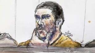 Un boceto realizado el 10 de enero de 2019 muestra a Mehdi Nemmouche (C) durante su juicio en el Palacio de Justicia de Bruselas. A su lado figuran dos policías belgas encapuchados por motivos de seguridad.