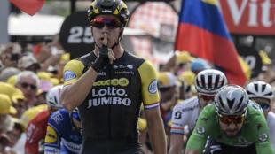 Le cycliste néerlandais Dylan Groenewegen s'est imposé, le 13 juillet 2018, lors de la 7e étape du Tour de France.