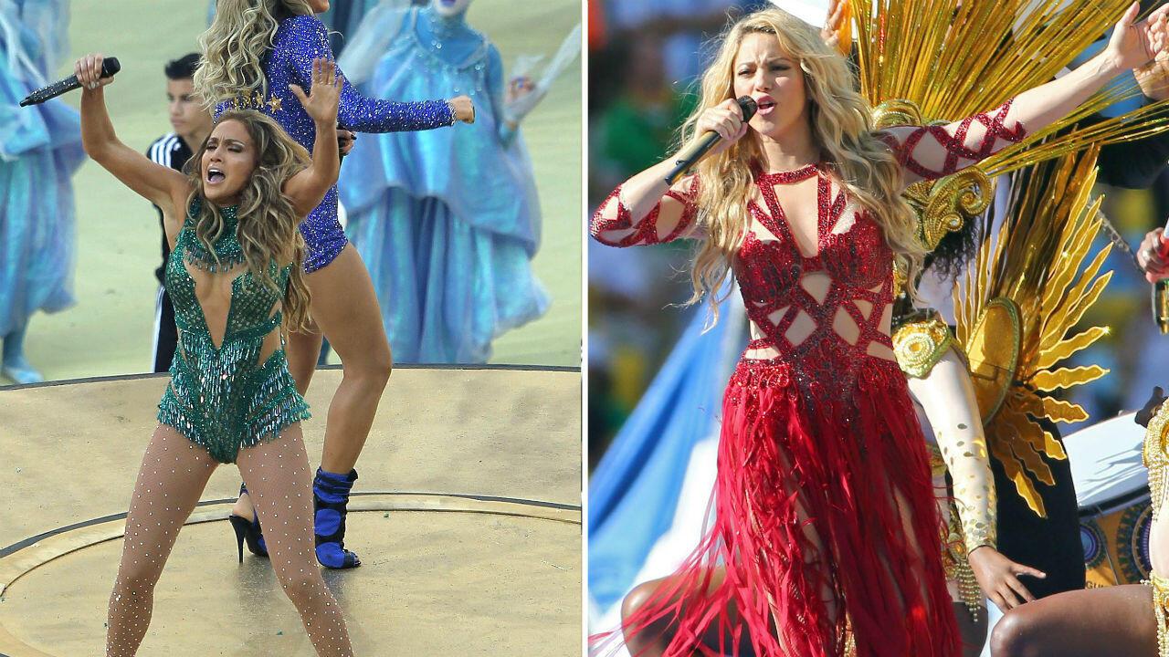 Jennifer López (izquierda) y Shakira (derecha) durante sus presentaciones en la ceremonia de apertura y clausura, respectivamente, del Mundial de la FIFA Brasil 2019.