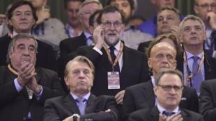 Mariano Rajoy, le Premier ministre espagnol, lors de la finale de Ligue des champions entre la Juventus et le Real Madrid, le 3 juin 2017.