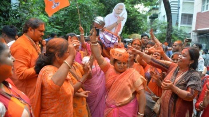 The lion returns' -- Modi fans paint the town saffron