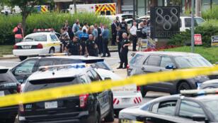 La police a bouclé les lieux après la fusillade au Capital Gazette, à Annapolis, jeudi 28 juin 2018.
