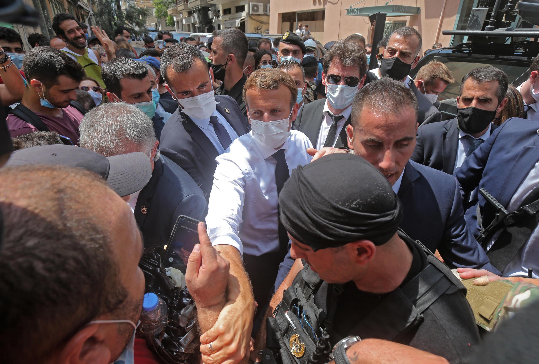Emmanuel Macron, le 6 août 2020, à Beyrouth au Liban.