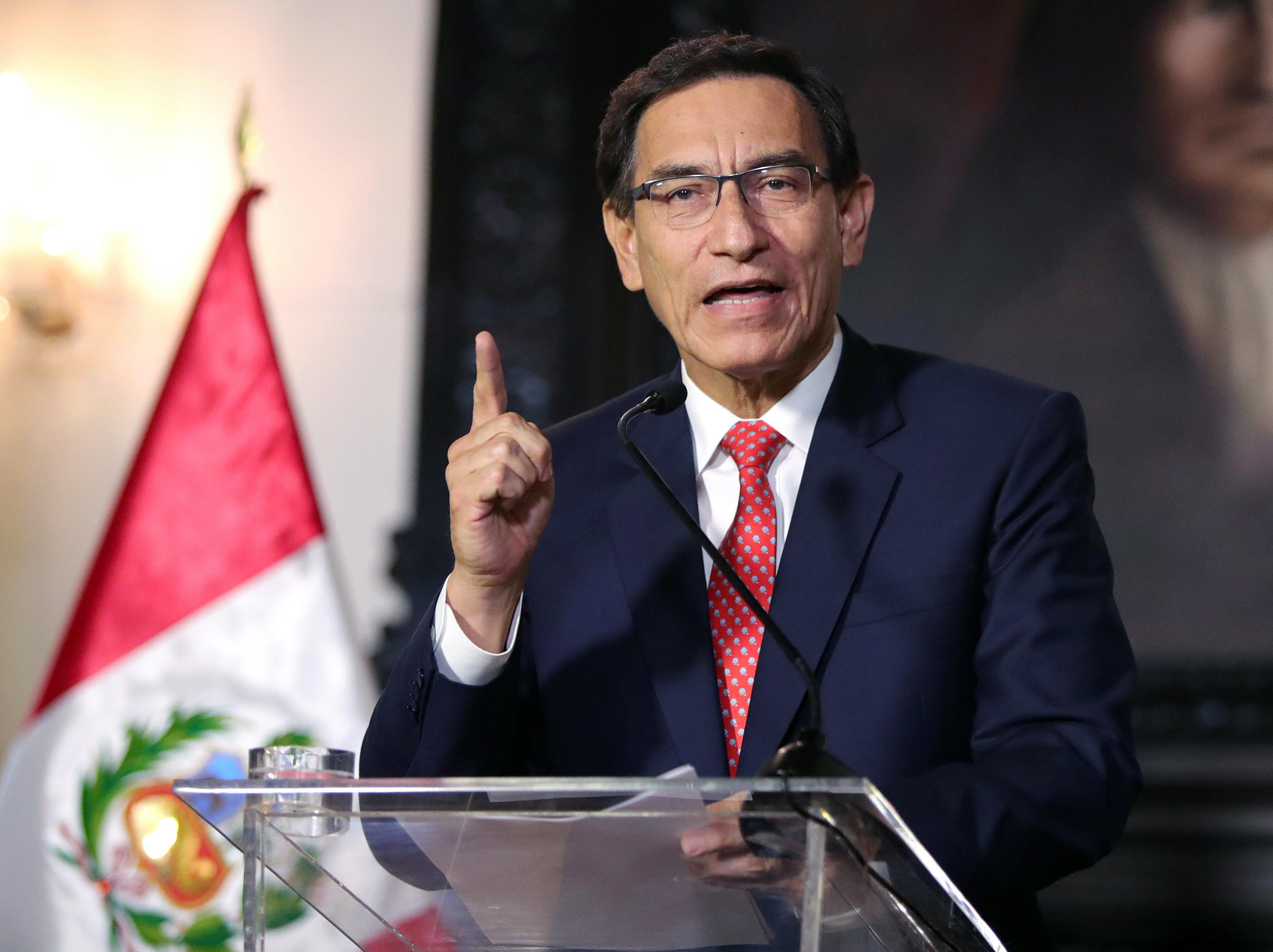 President Martin Vizcarra gives a televised message to the nation, in Lima, on September 10, 2020, amid a political crisis for allegadly trying to obstruct a graft probe involving government officials.