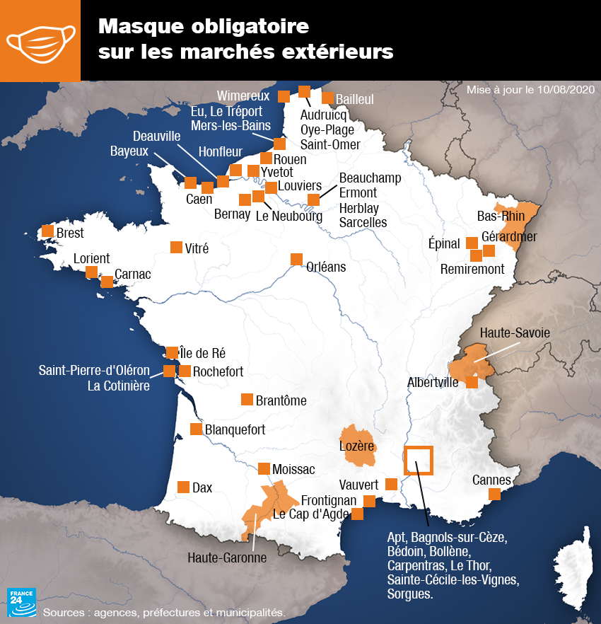 Les villes françaises dans lesquelles le port du masque est obligatoire en extérieur uniquement sur les marchés, au 10 août 2020.