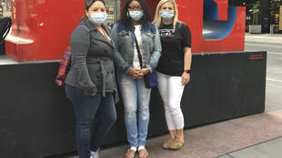 (From L) Grace Morales from Texas, Carla Cooley from Georgia and Dianne King from Alabama, nurses who came to New York as reinforcement to help fight the coronavirus pandemic