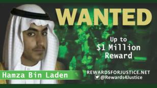 Una fotografía circula en la cuenta de Twitter del Departamento de Estado de EE. UU. para anunciar una recompensa de un millón de dólares para el personaje clave de Al Qaeda, Hamza bin Laden, hijo de Osama bin Laden, el 1 de marzo de 2019.