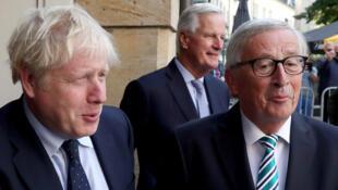 El primer ministro británico, Boris Johnson, se reúne con el presidente de la Comisión Europea, Jean-Claude Juncker, en Luxemburgo, el 16 de septiembre de 2019.