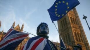 أحد مؤيدي الاتحاد الأوروبي خلال تظاهرة بلندن 18 كانون الأول/ ديسمبر 2017