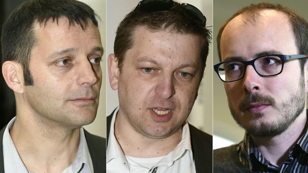 De gauche à droite : le journaliste français Antoine Perrin, et les deux lanceurs d'alerte Raphaël Halet et Antoine Deltour.