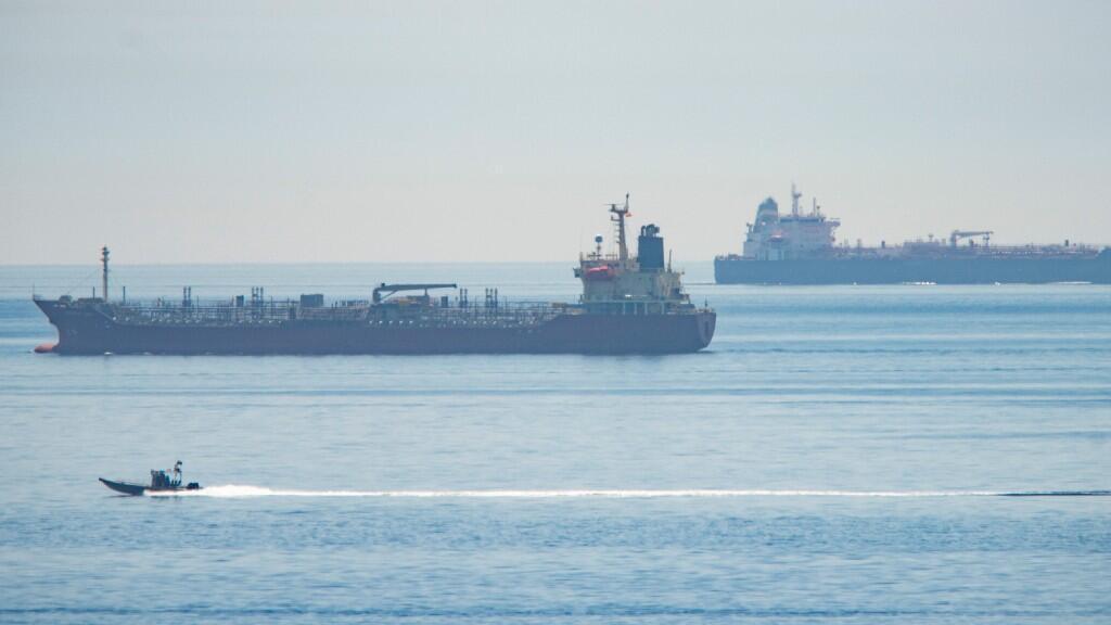Imagen de uno de los petroleros iraníes que tienen como destino las costas venezolanas. Estrecho de Gibraltar, frente a las costas españolas, 20 de mayo de 2020.