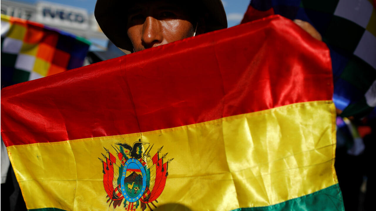 A supporter of former Bolivia's President Evo Morales participates in a demonstration in Cochabamba, Bolivia, on November 18, 2019.