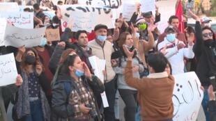 Manifestation à Tunis le 19 janvier.