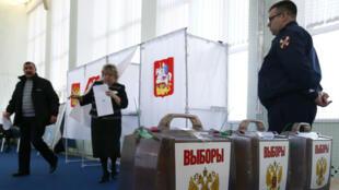 Un bureau de vote à Moscou, pour la présidentielle en mars 2018.