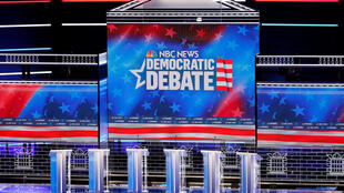 The stage is set for Wednesday's Democratic presidential debate at Paris Las Vegas in Las Vegas, Nevada on February 19, 2020.