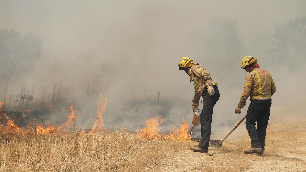 Des pompiers luttent contre l'incendie près de Flix, le 27 juin 2019.
