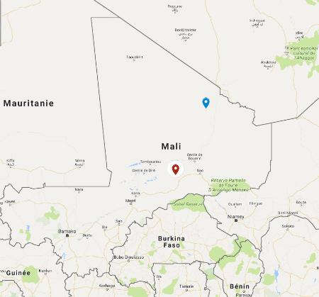 En rouge, Gourma Rharous où a eu lieu l'attaque sur un camp militaire. En bleu, la ville de Tessalit à proximité de laquelle a eu lieu l'attaque sur un convoi.