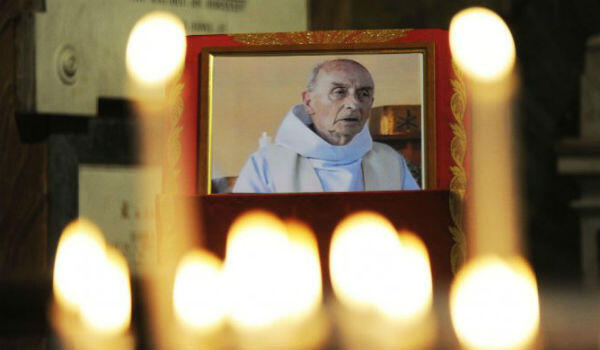 A picture of Father Jacques Hamel in the church of Saint-Etienne-du-Rouvray, where he was murdered on July 26, 2016.